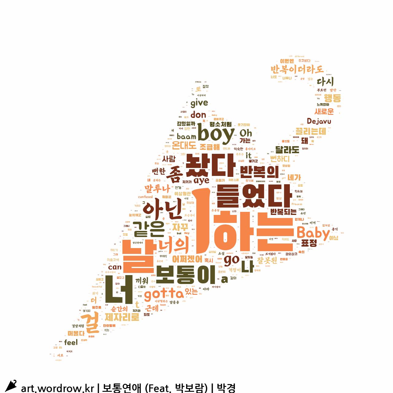 워드 클라우드: 보통연애 (Feat. 박보람) [박경]-8